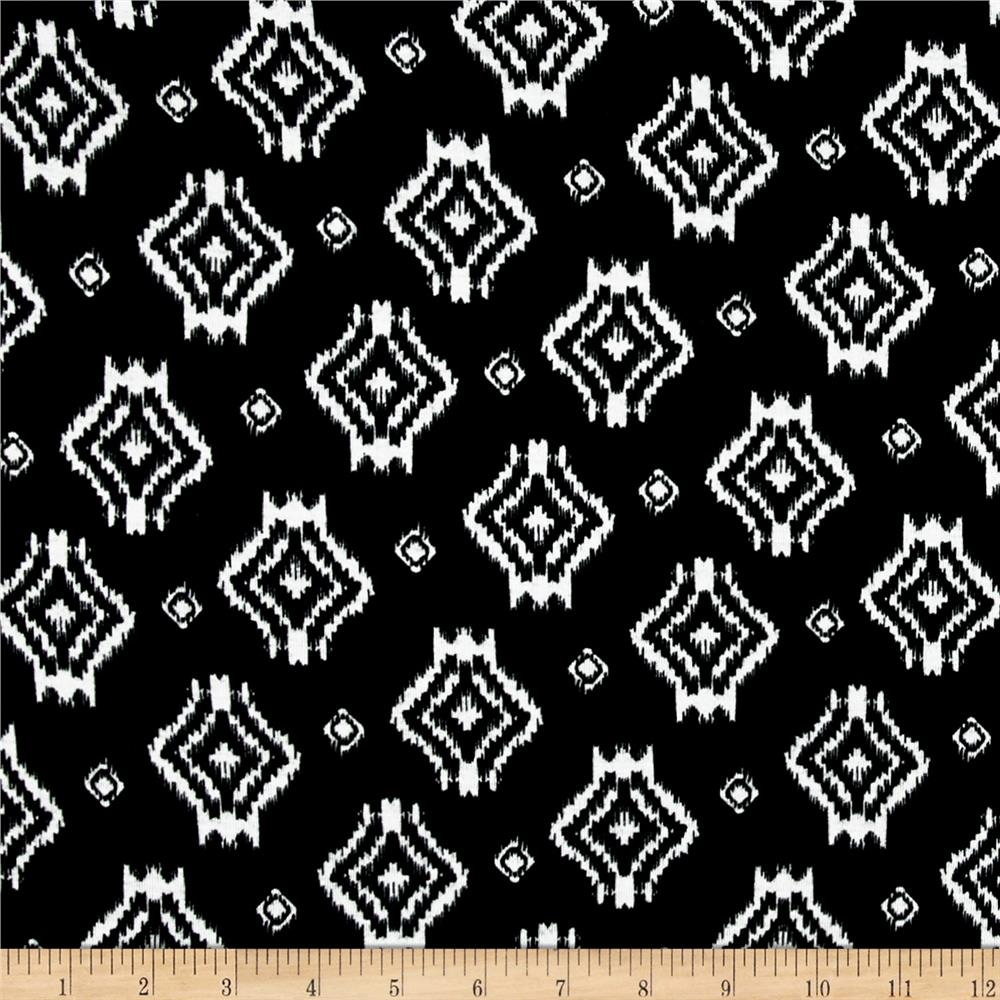 Jersey Knit Ikat Black White