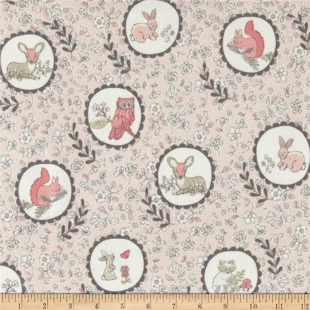 Timeless Treasures Flannel Doe, A Deer Woodland Portraits Pink