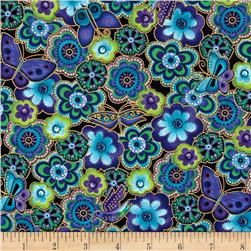 Laurel Burch Dogs & Doggies Metallic Packed Flowers Dark Aqua Metallic