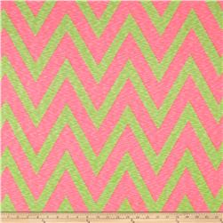 Rihan Jersey Knit Oversized Chevron Lime and Bright Pink