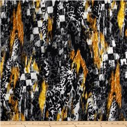 Silky Stretch ITY Jersey Knit Checker Skin Patch Gold/Black