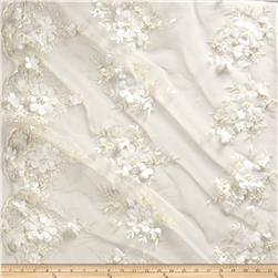 Stretch Floral Embroidered Mesh Lace Applique Ivory