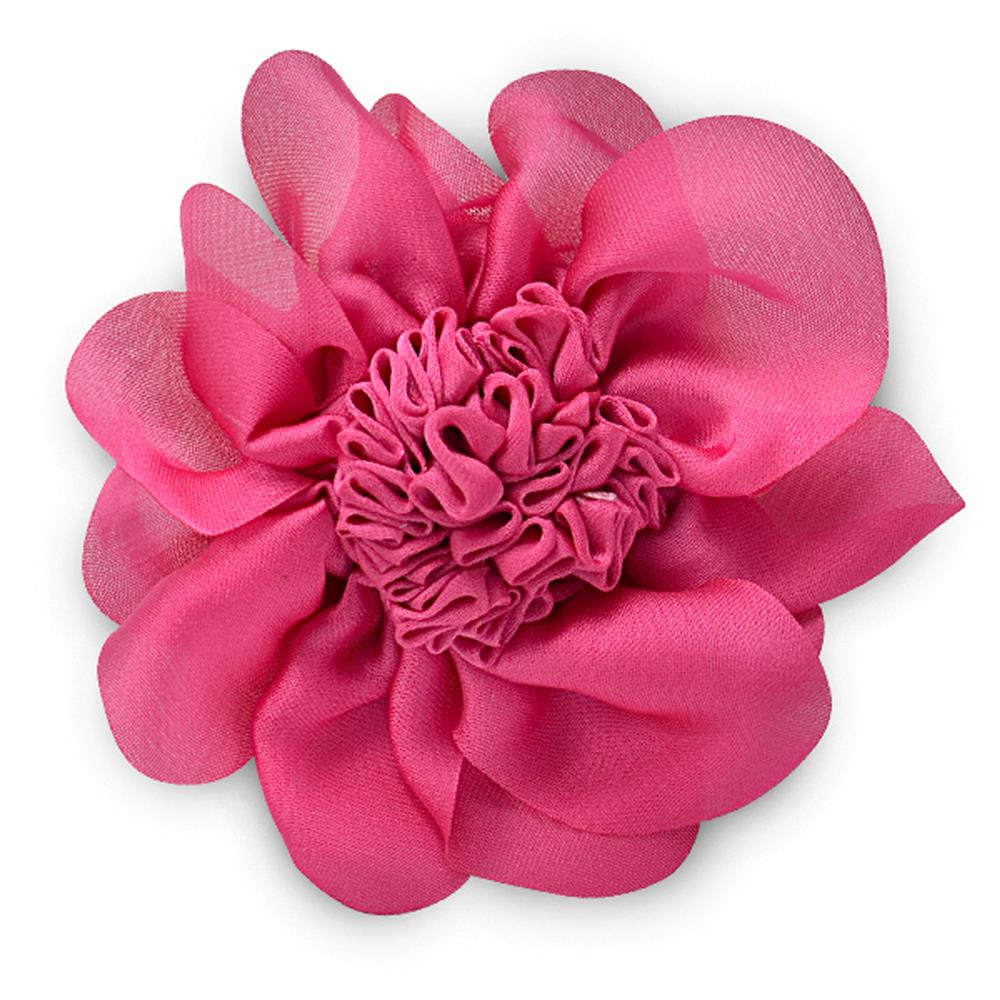 "3"" Ruched Flower Pin And Hairclip Fuchsia"