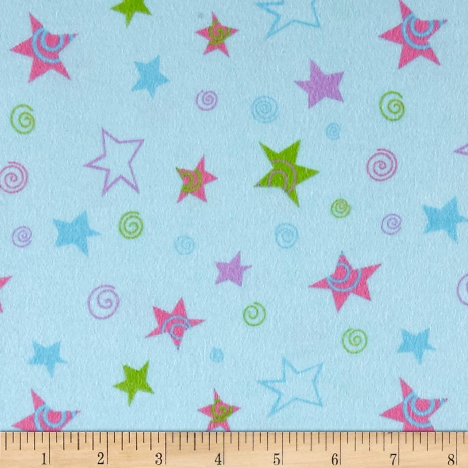 Lollipops Flannel Tossed Stars Blue Fabric