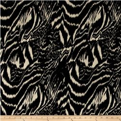 Poly Challis Abstract Animal Print Ecru/Black