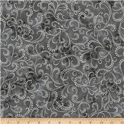 Kaufman Winter Grandeur Metallic Scroll Ash
