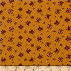 Silk Road Retro Daisies Orange/Brown Fabric