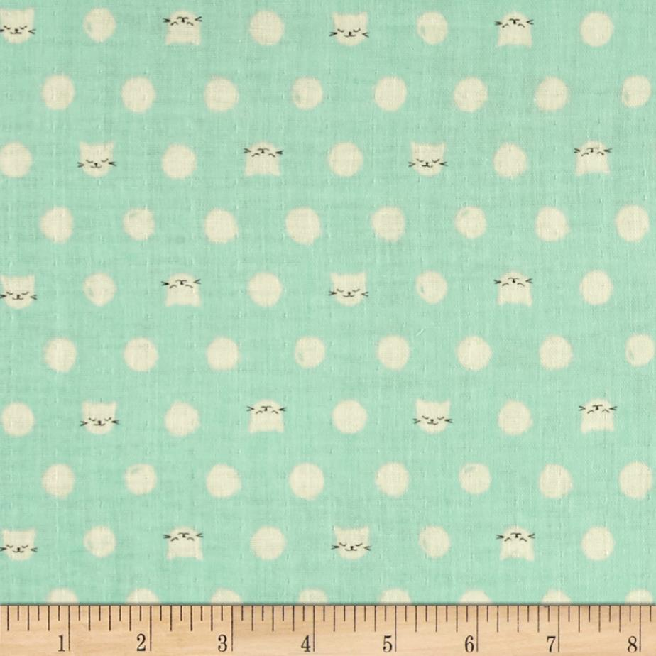 Cotton + Steel Cat Lady Double Gauze Friskers Teal