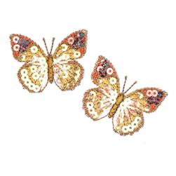Small Butterfly Iron On Sequin Applique Gold