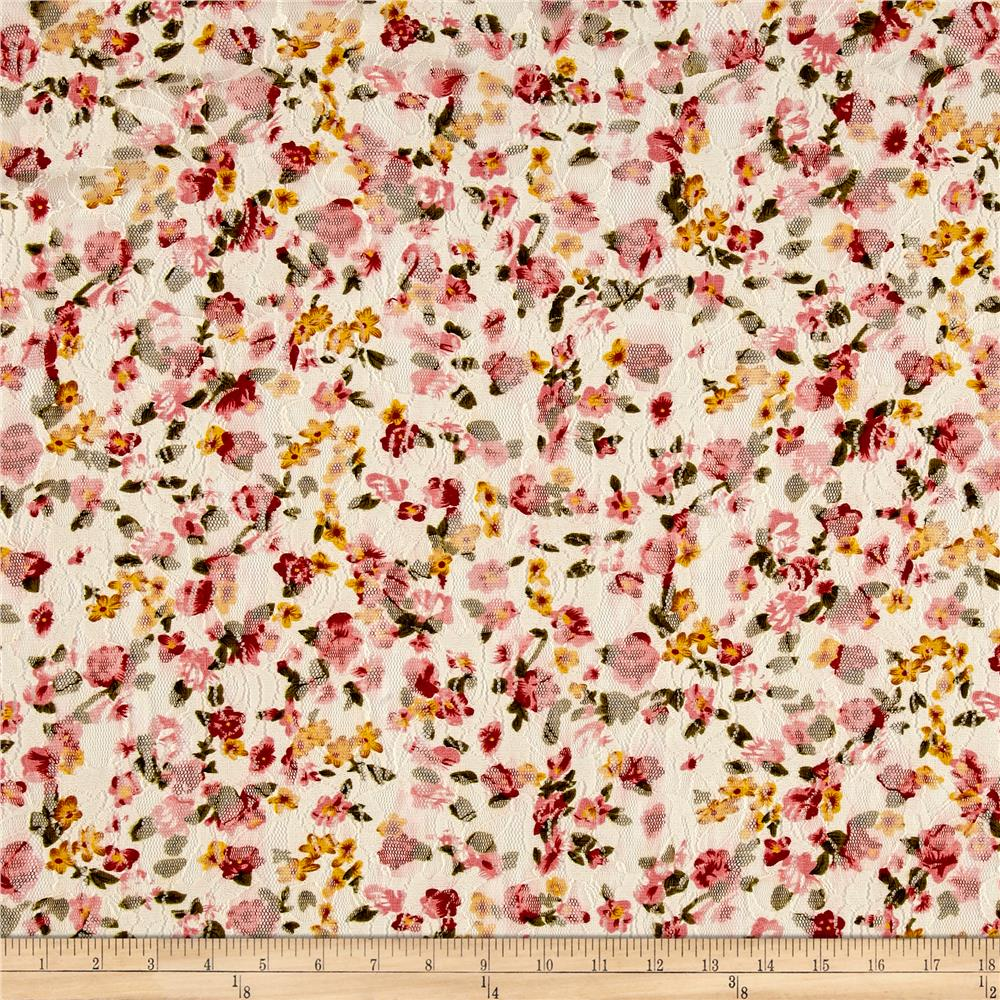 Stretch Floral Lace Pink/White/Yellow Fabric