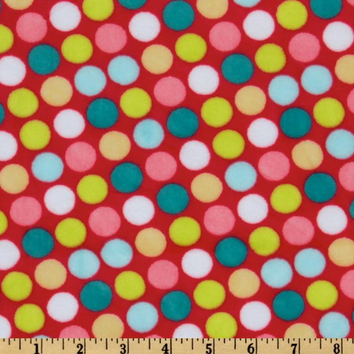 Minky Cuddle Retro Dot Coral/Teal