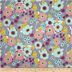 Nicole's Prints Retro Floral Grey Fabric