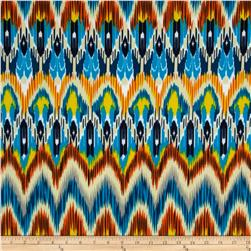 Stretch ITY Jersey Knit Ikat Blue/Orange