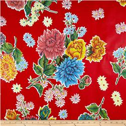 Oil Cloth Mums Red