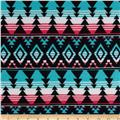 Sweater Knit Geometric Aqua/Black/Pink/White