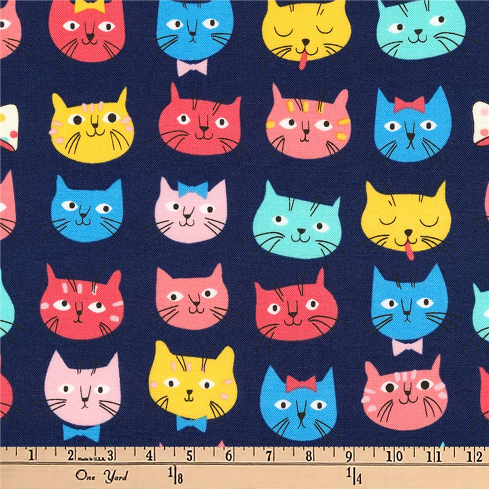 Kaufman Whiskers and Tails Slicker Laminate Cat Faces Navy Fabric
