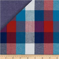 Kaufman Double Cloth Cotton Plaid Blue