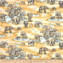 Safari Elephants Grey/Gold/Baby Blue