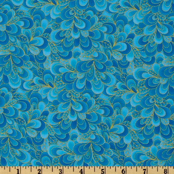 Timeless Treasures Shimmer Petals Gold/Turquoise Fabric