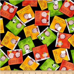 Peanuts Welcome Great Pumpkin Overlapping Patches Black