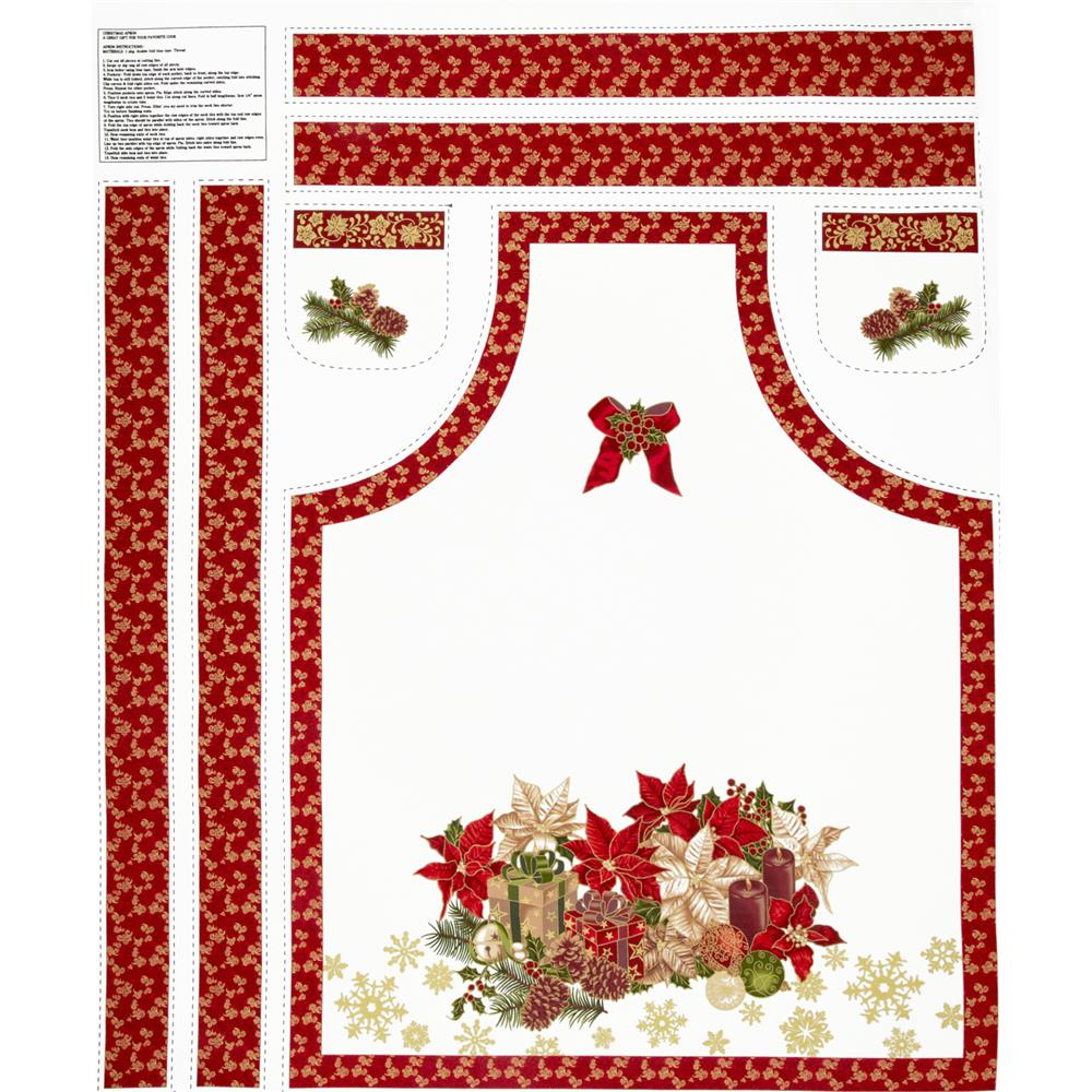 Celebrate the Season Apron Panel Red
