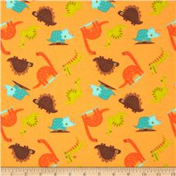 Riley Blake Dinosaur Flannel Toss Orange