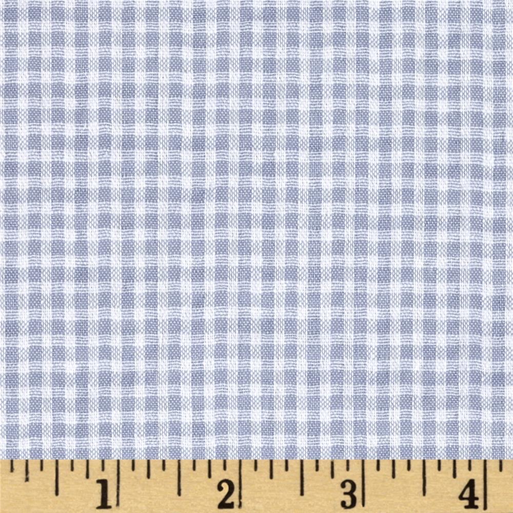 Woven Poly/Cotton Seersucker Gingham Light Blue