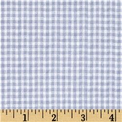 Woven Poly/Cotton Seersucker Gingham Light Blue Fabric