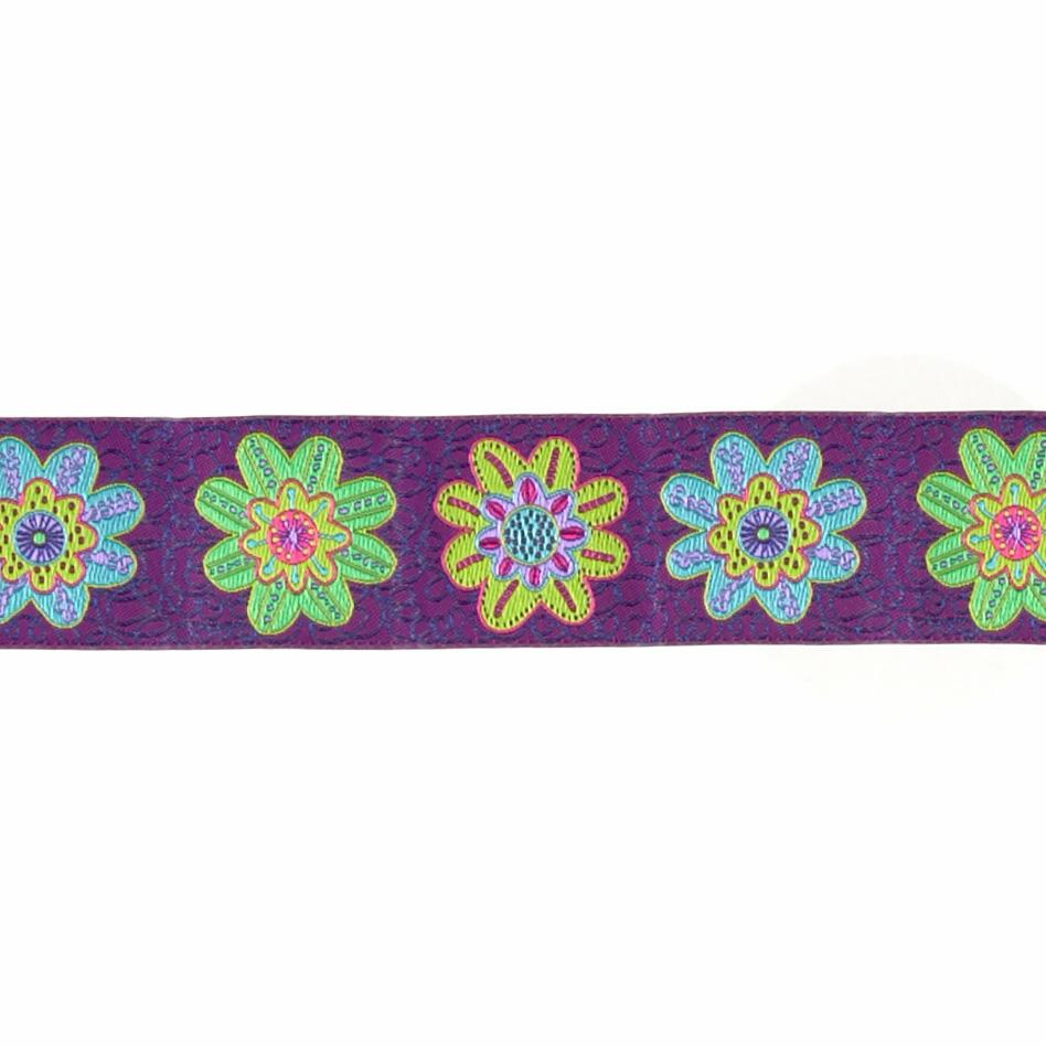 "1 1/2"" Sue Spargo Flowers on Purple"