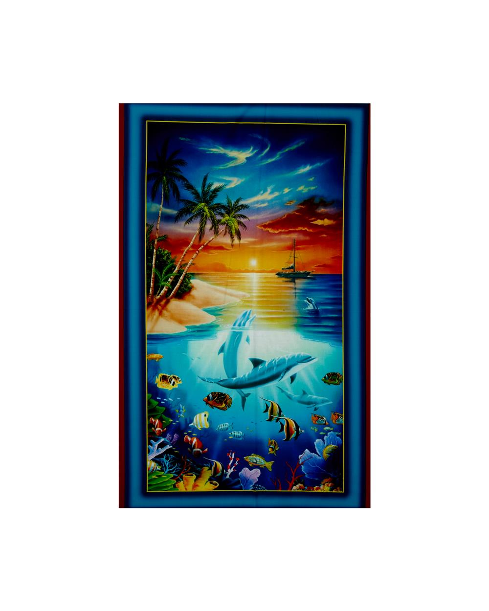 Dolphin Island Digital 25 In. Panel Turquoise