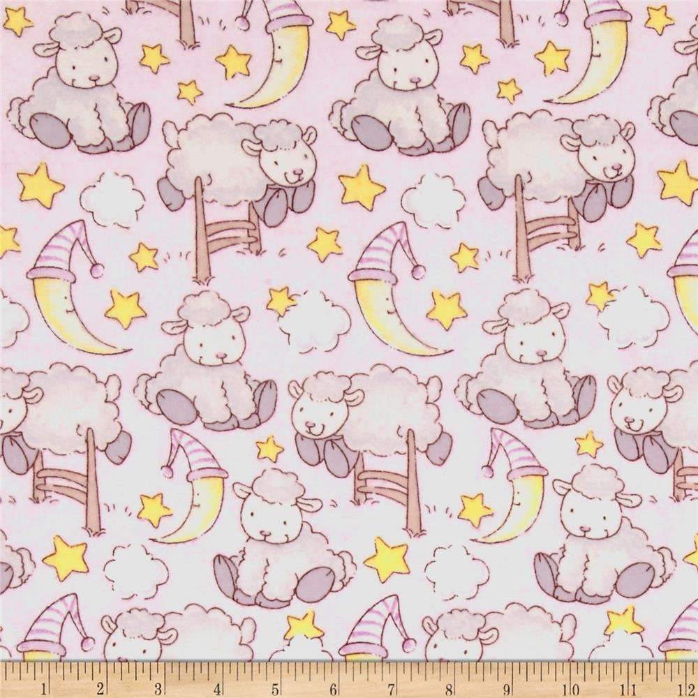 Lullaby Sheep Bedtime Sheep Flannel Light Pink/Grey