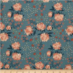 Birch Organic Acorn Trail Voile Peonies Blue