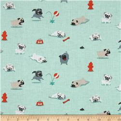 Michael Miller Pugs & Kisses Seafoam Fabric