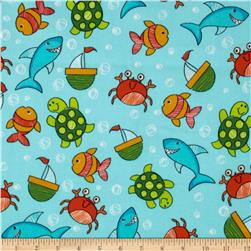 Flannel Under Sea Turquoise Fabric