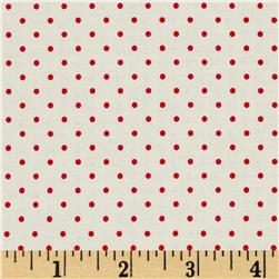 Riley Blake La Creme Basics Swiss Dots Cream/Red
