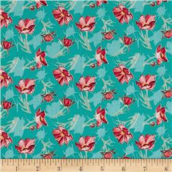 Grace Floral Turquoise Fabric