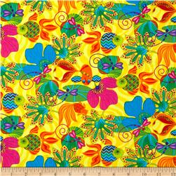 Calypso Frogs Large Goldfish/ Lily Pads Yellow Fabric