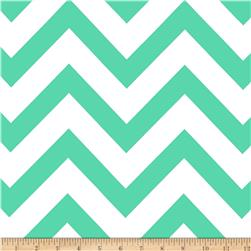 Mi Amor Duchess Satin Chevron Mint/White