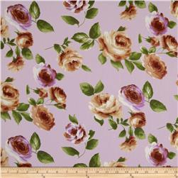 Designer Cotton Voile Roses Lilac/Brown