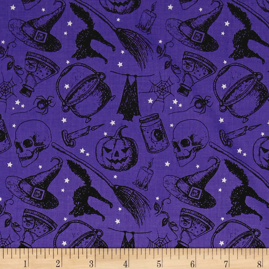 Image of Eat Drink & Be Scary Witches Brew Purple Fabric