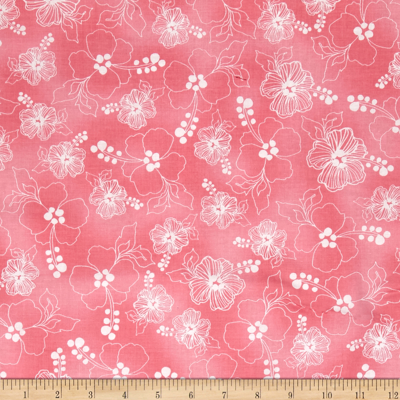 Loralie Designs Hu Lala Lacey Hibiscus Pink Fabric by E. E. Schenck in USA