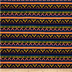 Neon Jersey Knit Mosaic Tribal Navy