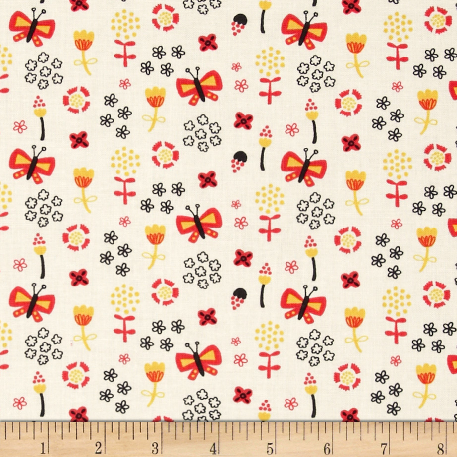 Birds of A Feather Butterflies Cream Fabric