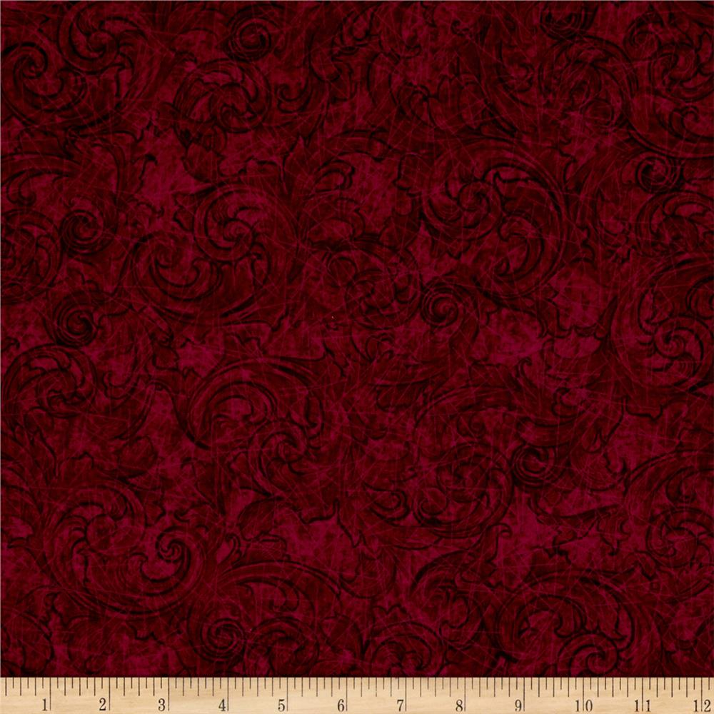 Tuscany Scroll Burgundy