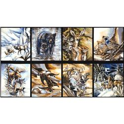 North American Wildlife Panel Animals Earth Fabric