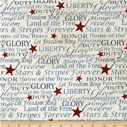 Stonehenge Land of the Free Words & Writing Navy/Red/Beige
