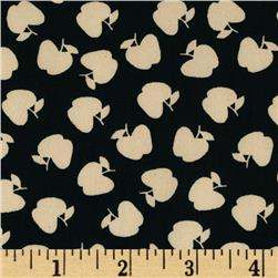Boutique Peachskin Apples Black/Off White Fabric