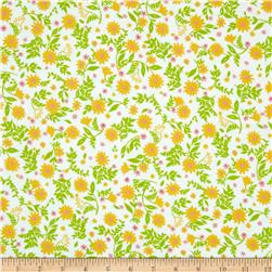 Robert Kaufman Cozy Cotton Flannel Flowers & Leaves Yellow