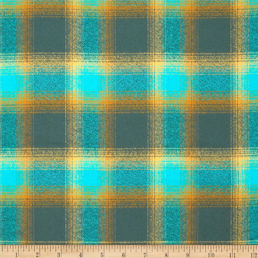 Kaufman Mammoth Flannel Plaid Lagoon Fabric By The Yard