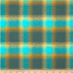 Kaufman Mammoth Flannel Plaid Lagoon